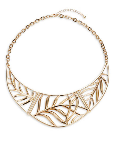 Expression Half-Moon Leaf Necklace-GOLD-One Size