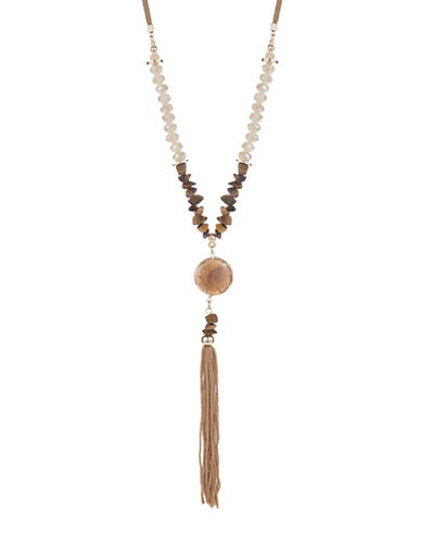 Expression Faceted Stone Tassel Necklace-BROWN-One Size