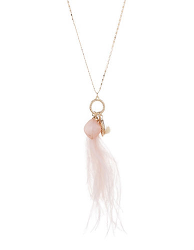 Expression Feather And Leaf Pendant Necklace-PASTEL-One Size