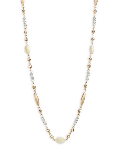 Expression Faceted and Sandblasted Bead Necklace-GOLD-One Size