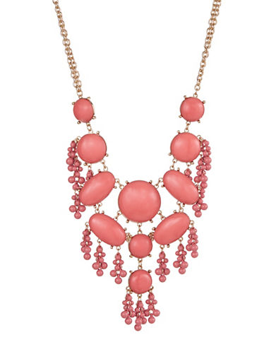 Expression Stone and Beads Statement Necklace-CORAL-One Size
