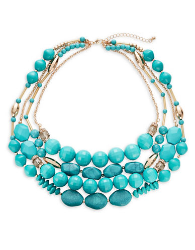Expression Four Strand Collar Necklace-BLUE-One Size