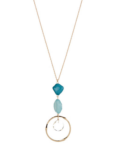 Expression Three-Stone Pendant Necklace-BLUE-One Size