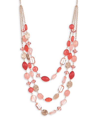 Expression Three Row Mixed Frontal Necklace-PINK-One Size