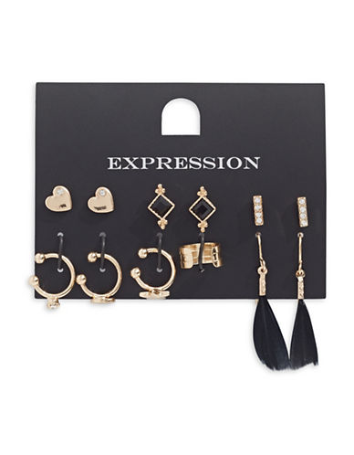 Expression Four-Pair and Four-Cuff Earring Set-BLACK-One Size