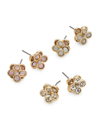 Expression Three-Pair Faceted Floral Stud Earrings-PINK-One Size