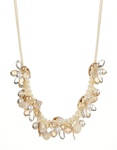 Expression Floral Faux Pearl and Leaf Cord Necklace-BEIGE-One Size