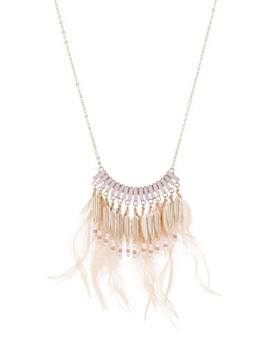 Expression Feather Frontal Necklace-PASTEL-One Size