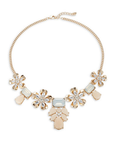 Expression Four Flower Frontal Necklace-BEIGE-One Size