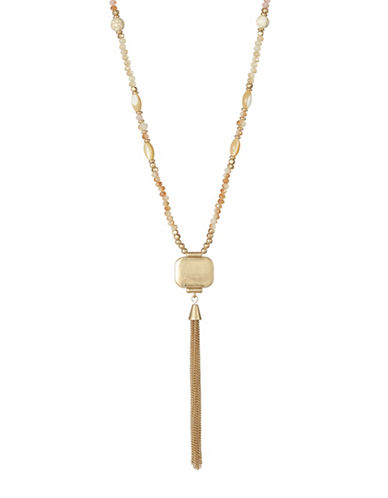 Expression Squre Pendant Tassel Necklace-GOLD-One Size