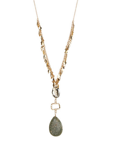 Expression Cluster Linear Drop Necklace-GREEN-One Size