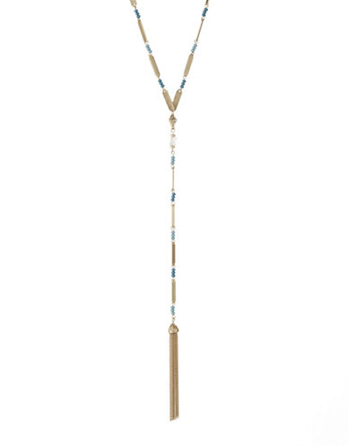 Expression Bead Tassle Y Necklace-BLUE-One Size