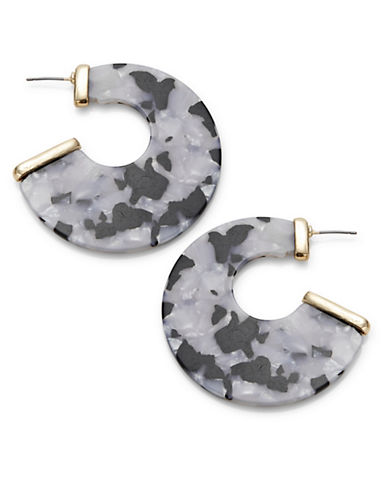 Expression Open-Back Perspex Disc Earrings-GREY-One Size