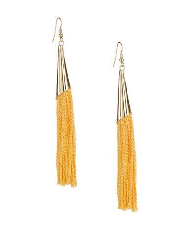 Expression Long Tassel Drop Earrings-YELLOW-One Size
