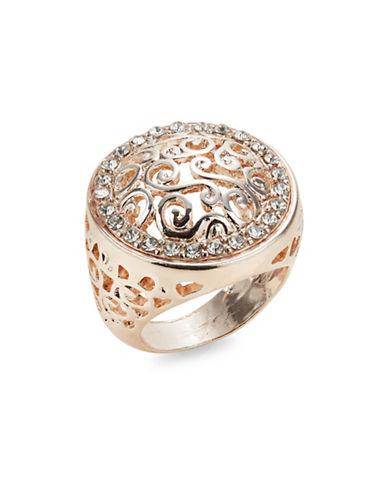 Expression Pave-Framed Filigree Ring-ROSE GOLD-9