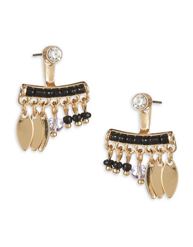 Expression Mixed Dangle Jacket Earrings-BLACK-One Size