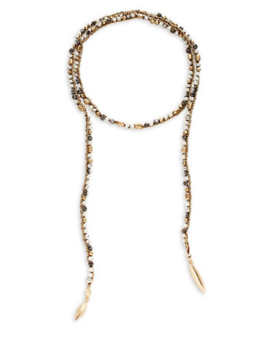 Expression Beaded Wrap Choker Necklace-BROWN-One Size