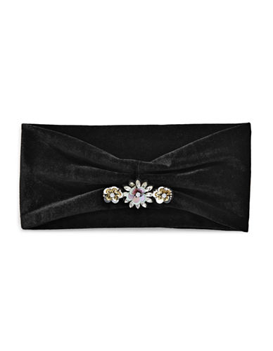 Expression Floral Stone Velvet Headband-BLACK-One Size