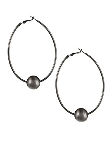 Expression Brushed Bead Oval Hoop Earrings-GREY-One Size