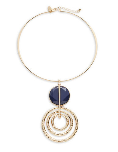 Expression Circle Drop Pendant Torq Necklace-BLUE-One Size