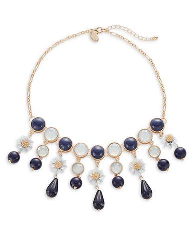 Expression Statement Flower Teardrop Necklace-BLUE-One Size
