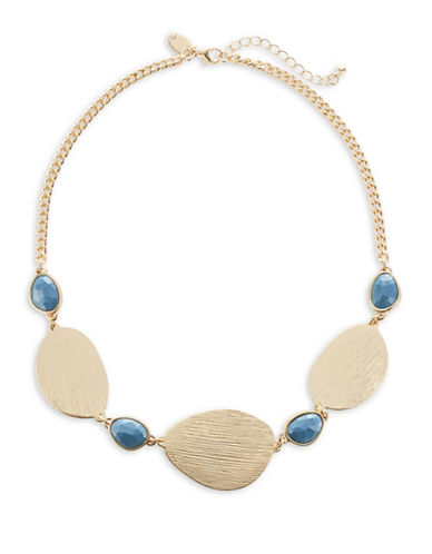 Expression Textured Stone and Plate Necklace-BLUE-One Size