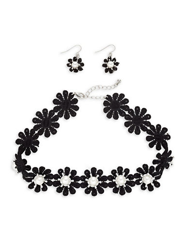 Expression Lace Choker and Earrings Set-BLACK-One Size