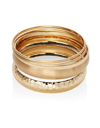 Expression Set of Nine Textured Bangles-GOLD-One Size