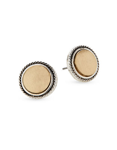 Expression Framed Button Studs-SILVER-One Size