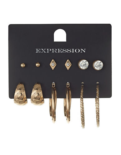 Expression Six Pack Mixed Hoop Set-GOLD-One Size