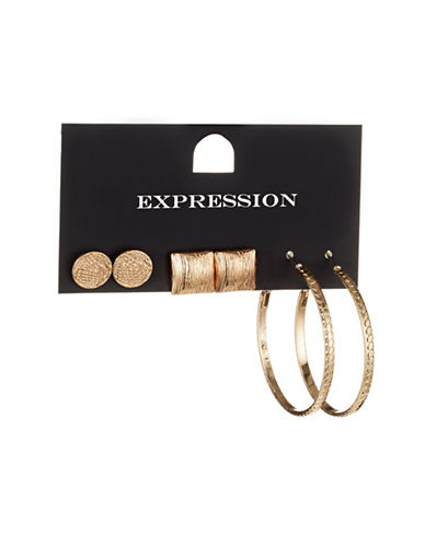 Expression Three-Pack Textured Stud and Hoop Earrings-GOLD-One Size