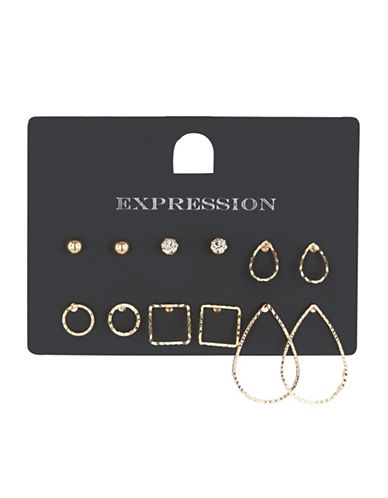 Expression Six-Pack Textured Goldtone Earrings-GOLD-One Size