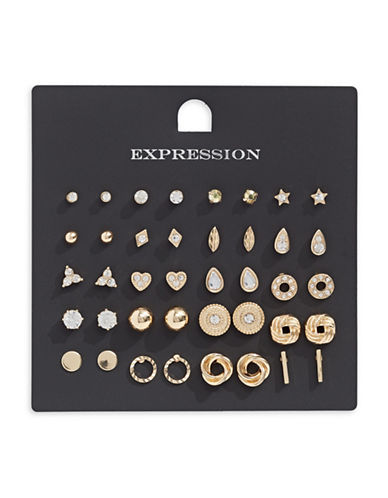 Expression 20-Pack Stud Earring Set-GOLD-One Size