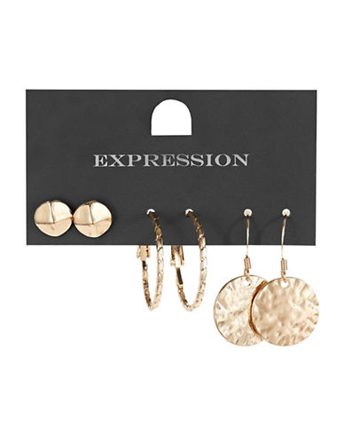 Expression Three-Pack Stud, Hoop and Disc Earrings Set-GOLD-One Size
