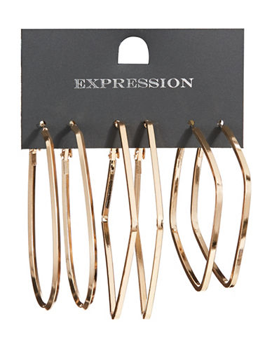 Expression Three-Pack Oval and Lozenge Hoop Earrings Set-GOLD-One Size