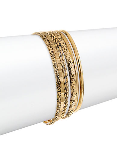 Expression Textured Bangles Seven-Piece Set-GOLD-One Size
