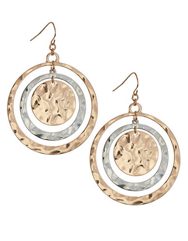 Expression Two-Row Hammered Drop Hoop  Disc Earrings-TWO TONE-One Size
