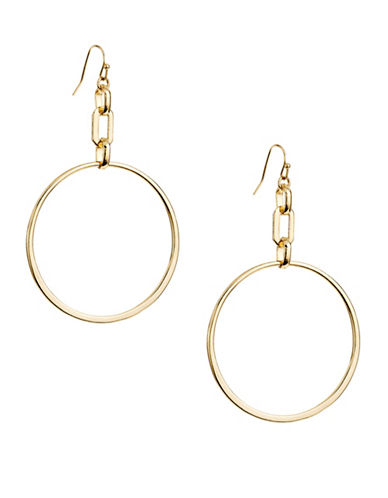 Expression Chain-Link Medium Hoop Earrings-GOLD-One Size