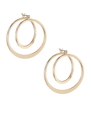 Expression Spiral Drop Hoop Earrings-GOLD-One Size