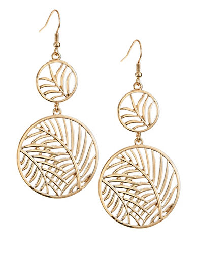 Expression Two Filigree Leaf Disc Drop Earrings-GOLD-One Size