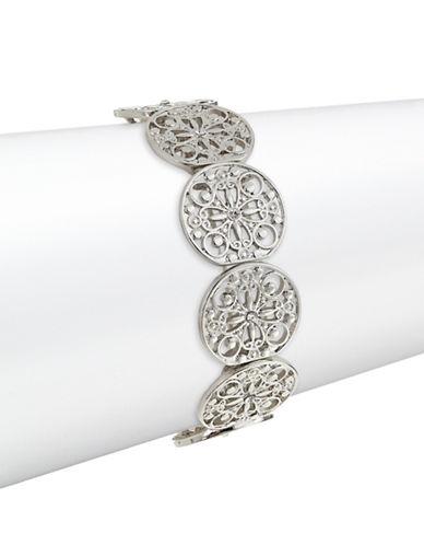 Expression Floral Filigree Disc Stretch Bracelet-SILVER-One Size