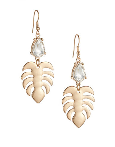 Expression Embellished Leaf Drop Earrings-GOLD-One Size