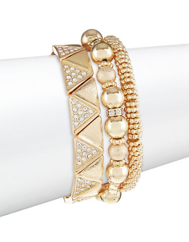 Expression Three-Pack Stretch Bracelet Set-GOLD-One Size