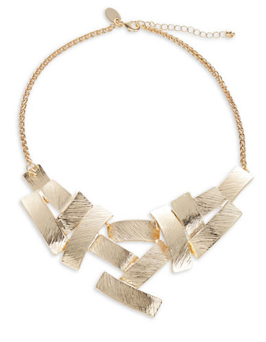 Expression Textured Rectangle Statement Necklace-GOLD-One Size