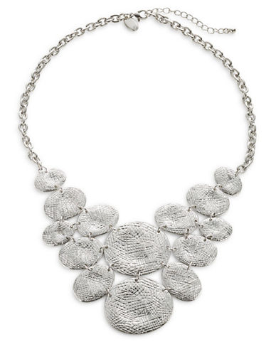 Expression Textured Oval Statement Necklace-SILVER-One Size