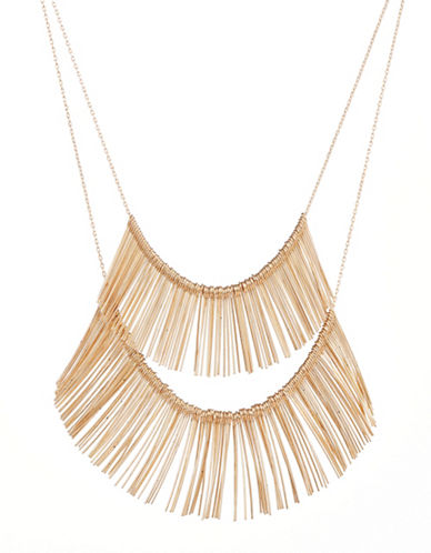 Expression Two-Row Dangly Bar Necklace-GOLD-One Size
