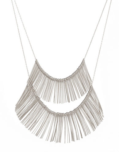 Expression Two-Row Dangly Bar Necklace-SILVER-One Size