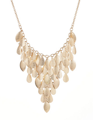 Expression Sandblasted Teardrop Statement Necklace-GOLD-One Size