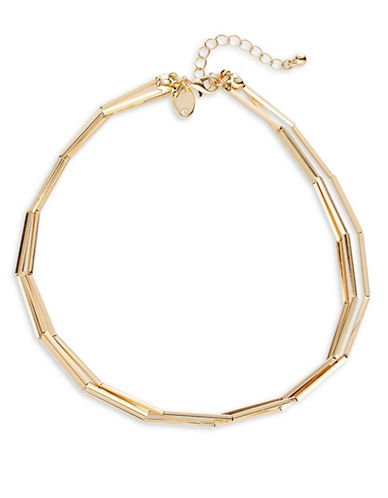 Expression Three-Row Choker Necklace-GOLD-One Size
