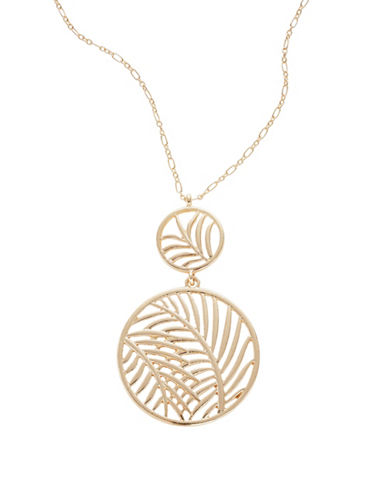 Expression Leaf Disc Pendant Necklace-GOLD-One Size